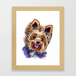 The cute smiley Yorkie love of my life! Framed Art Print