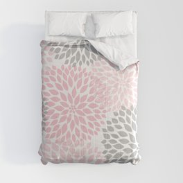 Pink Gray Dahlia Floral Comforters