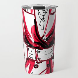 fashion art of a girl in a red jacket and white belt Travel Mug
