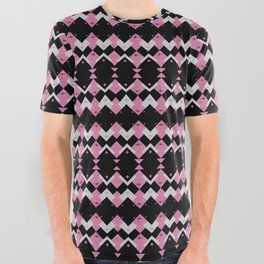 Pink Flamingos Art Deco Pattern All Over Graphic Tee