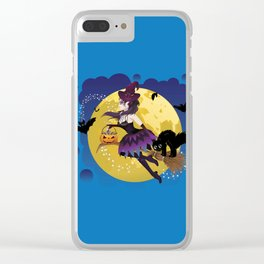 Cartoon witch flying Clear iPhone Case