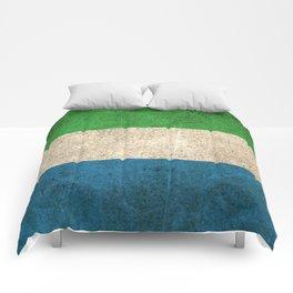Old and Worn Distressed Vintage Flag of Sierra Leone Comforters