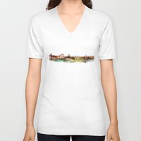 finland V-neck T-shirts featuring Helsinki city panorame, Finland by jbjart