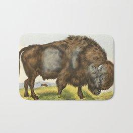 Vintage Bison Illustration Bath Mat