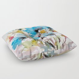 Abstract flowers in blue Floor Pillow