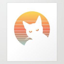 Cat Sunset Vintage Retro Summer Vibes Art Print