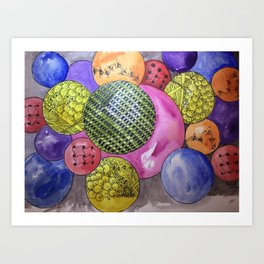 Zentangle Bubbles Art Print