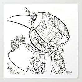 Robot Pirate - ink Art Print
