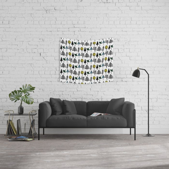 Hand drawn tree pattern Wall Tapestry