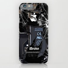 Broken, rupture, damaged, cracked black apple iPhone 4 5 5s 5c, ipad, pillow case and tshirt Slim Case iPhone 6