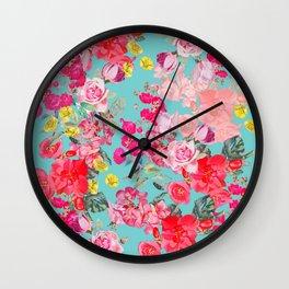 Teal Antique Floral Print Wall Clock