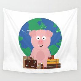 Globetrotter Travel Pig with Suitcases Bfrz8 Wall Tapestry