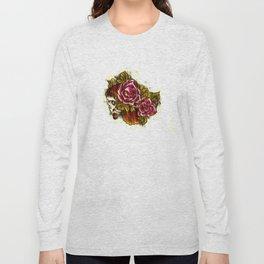 Tattoo Flash grunge....skull rose Long Sleeve T-shirt