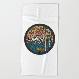 Japan manhole fuji sakura Beach Towel