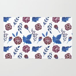 Watercolor floral red roses print Rug