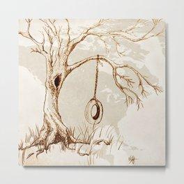 Tire Swing Tree in Sepia Metal Print