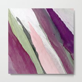 Blossom [2]: a pretty acrylic piece in greens, pinks, white, and purple. Simple minimal elegant Metal Print