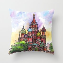 Moscow ink & watercolor illustration Throw Pillow