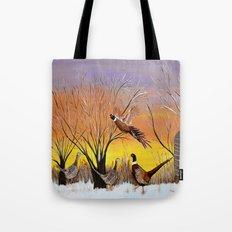 Pheasants in the sunrise Tote Bag