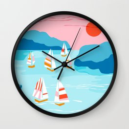Tight - memphis throwback retro vintage classic sport boating yachting sailboat harbor sea ocean art Wall Clock