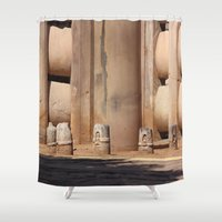 buddhism Shower Curtains featuring Buddhism ancient place in Sanchi by Four Hands Art