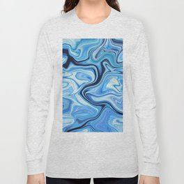 Marbled Frenzy Electric Blue Long Sleeve T-shirt