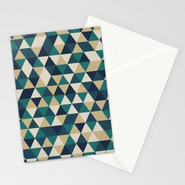 Foggy Petrol and Blue - Hipster Geometric Triangle Pattern Stationery Cards