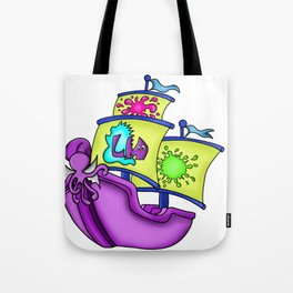 Little Monster Pirate Ship Tote Bag