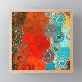 Turquoise and Red Swirls Framed Mini Art Print