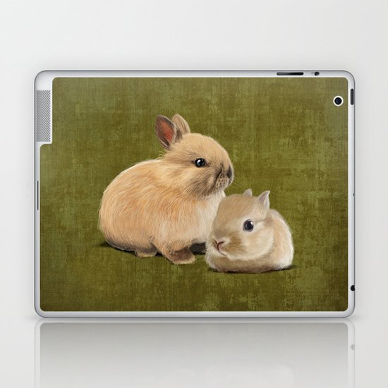 Portrait of two small bunnies Laptop & iPad Skin