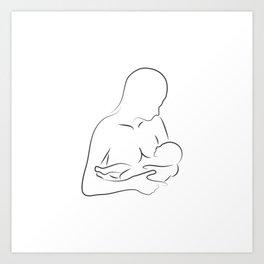 Mother Breastfeeding Silhouette Art Print