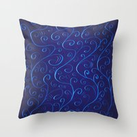 Mysterious Glowing Blue Swirls Throw Pillow