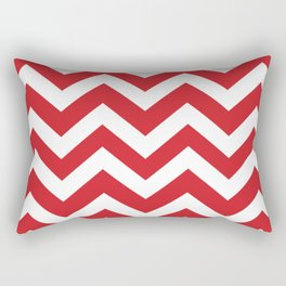 Fire engine red - red color - Zigzag Chevron Pattern Rectangular Pillow