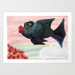 Red Lip Fish Art Print