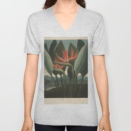 Henderson, Peter C. (d.1829) - The Temple of Flora 1807 - The Queen (Bird of Paradise Flower) Unisex V-Neck