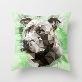 Staffordshire Bull Terrier (Low Poly) Throw Pillow