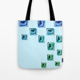 Emerald-cut Gemstones Pattern   Seafoam Tote Bag