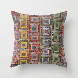 Many ornamented Frames put in vertical Rows Throw Pillow