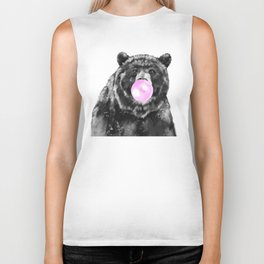 Bubble Gum Big Bear Black and White Biker Tank