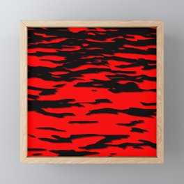 Black red abstract wave Framed Mini Art Print
