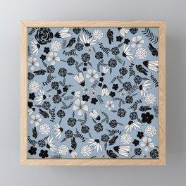 Black and white flowers on light blue Framed Mini Art Print
