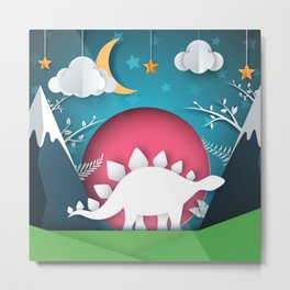 3D Paper Art Dino In the Mountains Metal Print