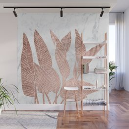 Modern faux Rose gold leaf tropical white marble illustration Wall Mural
