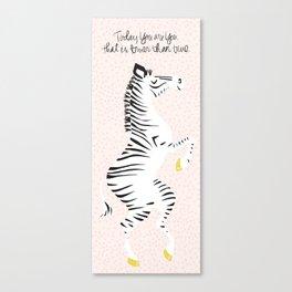 Pink Zebra (Dr. Seuss quote) Left Canvas Print