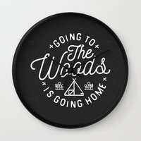 arya Wall Clocks featuring Going to the Woods is Going Home by Kevin Arya