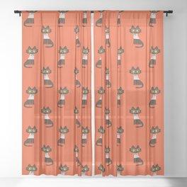 Fitz - Preppy cat Sheer Curtain