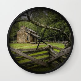 Oliver Log Cabin in Cade's Cove Wall Clock