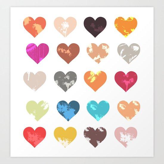 Colorful love pattern Art Print
