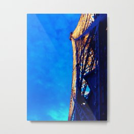Paris France Vintage Lit Up Night Eiffel Tower Historic Landmark Monument Wall Art Print Metal Print
