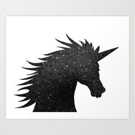Black Glitter Unicorn Art Print